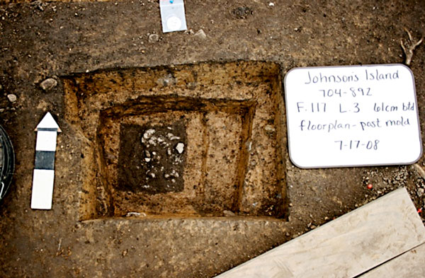 This post hole feature (F117) has now been excavated to the actual post mold.
