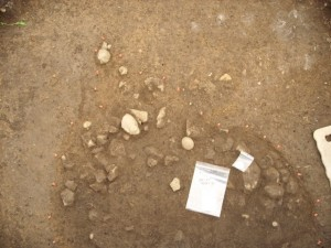 Excavation of a possibly prehistoric feature, found under the hospital block