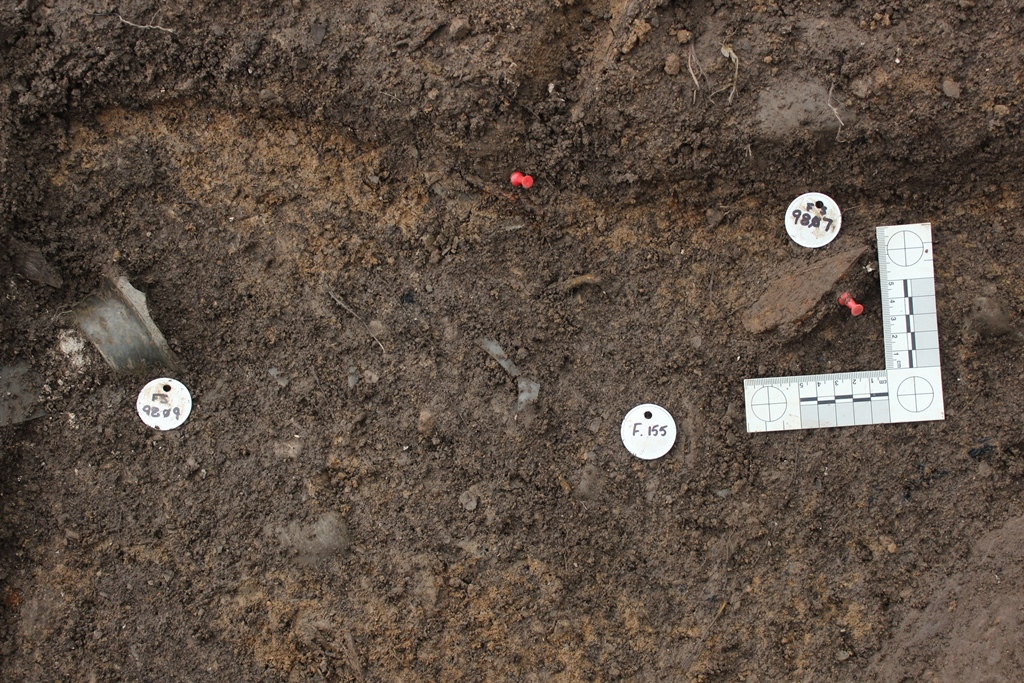 Artifacts ready for mapping from Feature 155, a wall trench