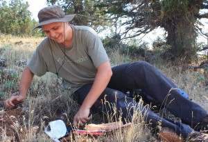 One of the palynologists at work in a pine forest on vicinity of Gravgaz marsh