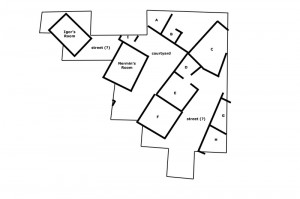 Line drawing of the rooms and open spaces excavated in 2008-2009