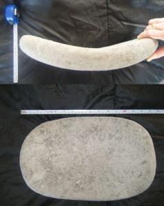 Metate recuperado de un pozo de saqueo